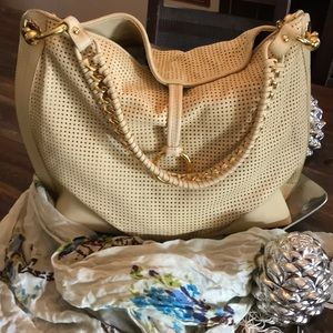 Perforated Tote Chamois leather handbag